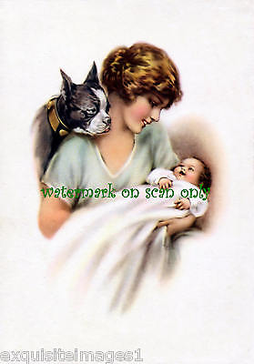 Vintage Art~Boston Terrier~Beautiful Lady w Baby~ NEW Large Note Cards