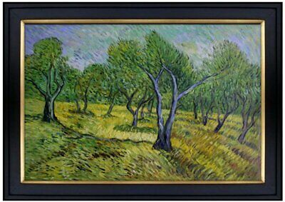 Framed Van Gogh Olive Orchard Repro, Quality Hand Painted Oil Painting 24x36in