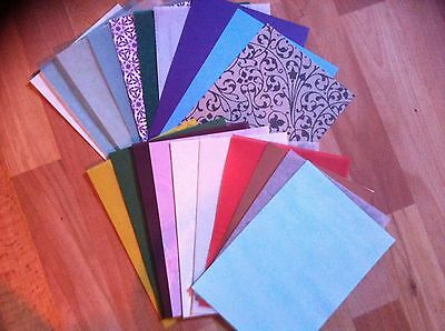 20 x A5 SHEETS OF MIXED PEARL, GLITTER, VELLUM, CARD, PAPER, PATTERENED, PLAIN