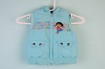 NICKELODEON Blue DORA THE EXPLORER little girls vest jacket top Sz 4T