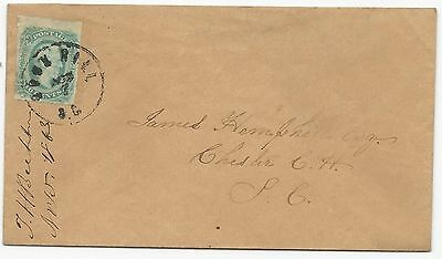 CSA Scott #12c Tied to Cover by Rock Hill, SC CDS November 2, 1863