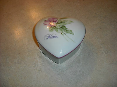 "Collectible, Napco, Import Japan, Porcelain Heart-Shaped Box/""Mother"""