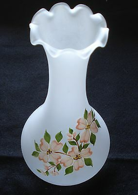 """1973 Westmoreland 10"""" Tall Dogwood Decorated Vase, Crystal Mist, was made in USA"""