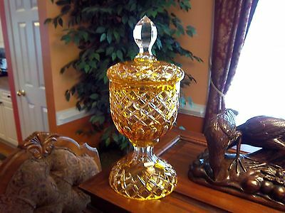 Gorgeous - BOHEMIAN AMBER/YELLOW CUT-TO-CLEAR CRYSTAL CANDY DISH/JAR WITH LID