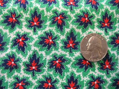 Vtg Full Feedsack Green Red Blue White Maple Leaf  Quilting Fabric Sewing