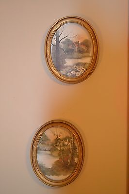 Home Interior VINTAGE {Set of 2} Syroco Oval Framed  Country Scene Pictures