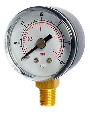 Pressure Gauge 40mm Dial 0/30 PSI & 0/2 Bar 1/8 BSPT BOTTOM  and/or Hose Tails