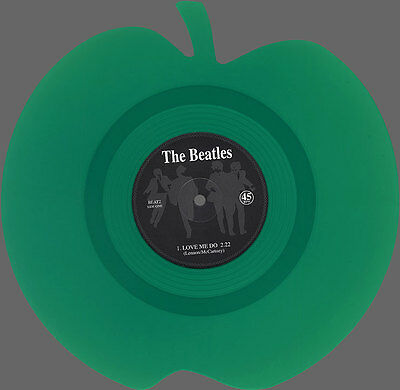 """Love Me Do / P.S. I Love You - 7"""" shaped coloured disc - The Beatles green apple"""