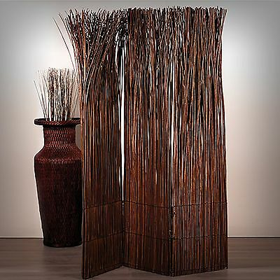 WILLOW WOOD ROOM DIVIDER NATURE | folding partition, brown screen paravent