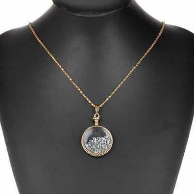 Round Floating Living Memory Crystal Charm Long Chain Pendant Fashion Necklace