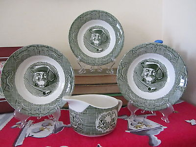 """Royal Jeanette Old Curiousity Shop 3 Berry Bowls 5 1/2"""" & 1 Creamer"""