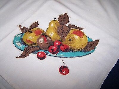 Hand-Stitched Applique Towel/Scarf Apple Pear Cherry Fruit Bowl Old Vintage