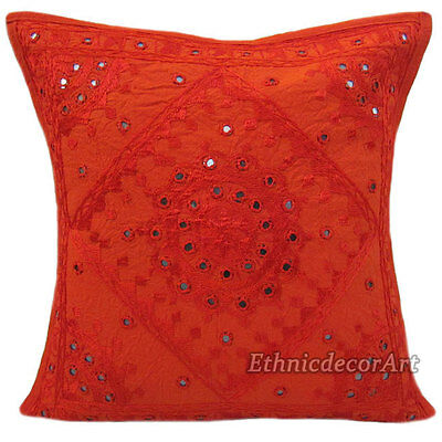 """16"""" INDIAN CUSHION PILLOW COVER THROW Embroidery Mirror Vintage Traditional 120"""