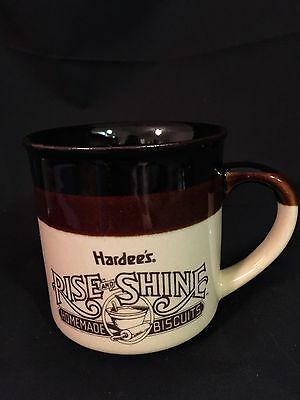 Vintage Hardee's Rise And Shine Homemade Biscuits Brown Tan Coffee Mug