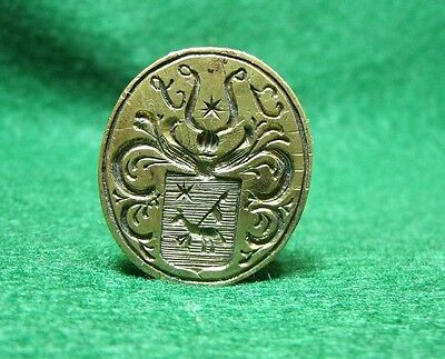 Antique 18th Century Iron & Brass Armorial Sealing Wax Stamp Seal