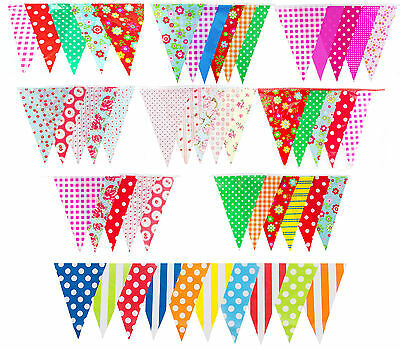 10M Bunting vintage wedding shabby chic floral spot stripe gingham garden party