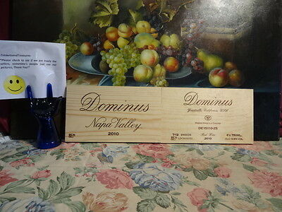 2010  TWO  DOMINUS WINE PANELS ENDS WOOD WALL ART BOX CRATE BAR CELLAR VINEYARD