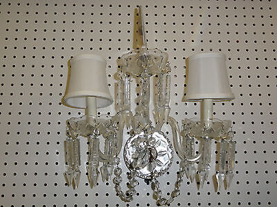 Elaborate Waterford ? Crystal Double Arm Light Wall Sconce With Cut Prism Drops