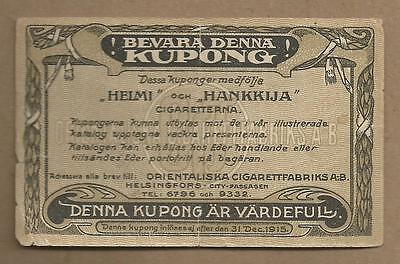 Finland Tabacco Cigarette Cupon 1915 Very Rare  Issue!