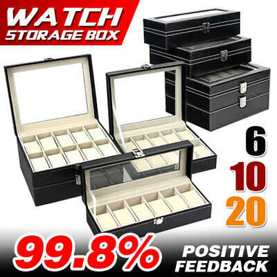 6 10 20 Grids Watch Jewelry Storatge Holder Box Wrist Watches Display Case Gift