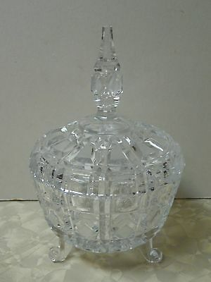 Cut Glass 3 Footed Crystal Candy Dish Bowl w/ Cover Diamond Pattern