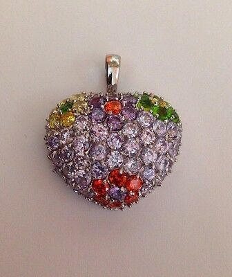 """Sterling Silver 925 Rhodium Heart Multicolor Flowers Pave Crystal 1"""" Pendant"""