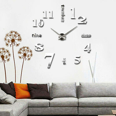 Unique Large 3D DIY Wall Clock Mirror Surface Stickers Home Office Room Decors