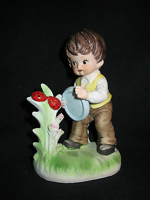 Vintage Napcoware Boy Catching Ladybugs Figurine