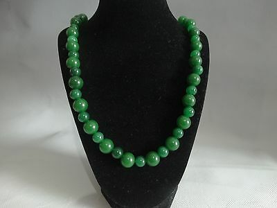 Chinese Green Big & Small Beads Jade Necklace  610 mm L=24.0''