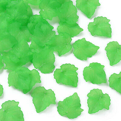 100pc Frosted Transparent Acrylic Grape Leaf Pendants Green Earring Necklace Fit
