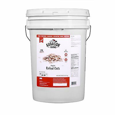 Augason Farms Regular Rolled Oats Pail - 20 lbs Emergency Food Storage Survival