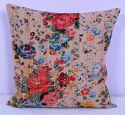 """16"""" INDIAN BEIGE FLORAL CUSHION PILLOW COVERS Kantha Thread Work Ethnic Vintage"""