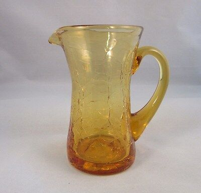Vtg hand blown studio amber crackle art glass small pitcher or creamer