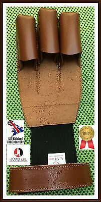 Archers Leather Shooting 3 Finger Glove, Burnish Glove,