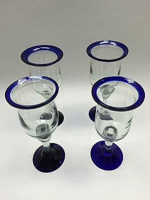 Set of 4 Mexican Hand Blown Cobalt Blue Rim & Base Tulip Style Wine Glasses #2