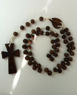 Vintage Rosary Large Hand Carved Wood Beads Cross Monk Priest Wall Hanging