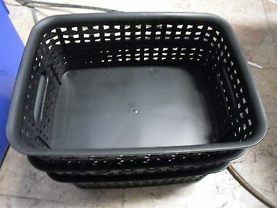 "New Advantus Weave Bins, 7 3/8"" x 10 x 8 1/4, Plastic, Black, 3 Bins - AVT40326"