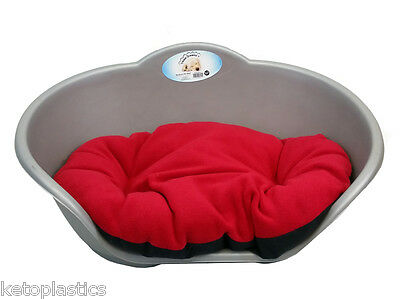Large Plastic Silver Grey Pet Bed With Red Cushion Dog Cat Sleep Basket