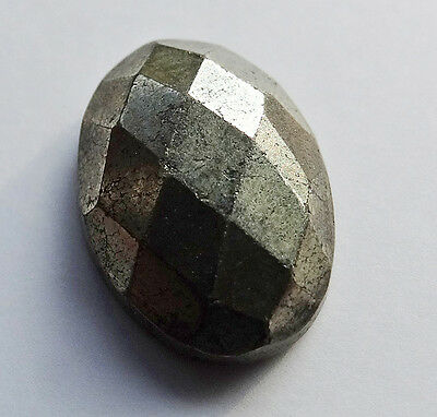 natural PYRITE faceted cab + rose cut 7,78 cts - Saphirboutique GERMANY