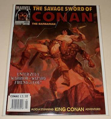 The SAVAGE SWORD OF CONAN # 205 Marvel Magazine Jan 1993  FN Conan The Barbarian