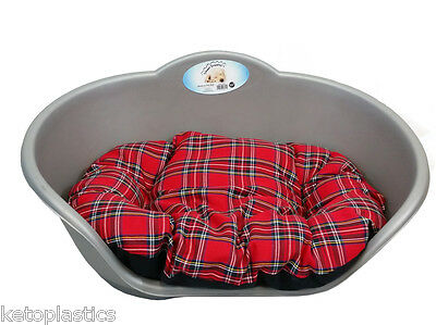 Extra Large Plastic Silver Grey Pet Bed With Red Tartan Cushion Dog Cat Basket • EUR 28,39