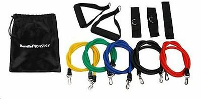 11-pc Resistance Bands Exercise Latex Tube Workout Gym Fitness Yoga  Ankle Ba