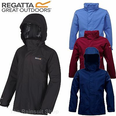Regatta Greenhill Hooded Waterproof Kids Rain Coat Jacket Boys Girls Age 3-12Yrs