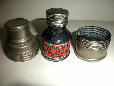 WORDEN'S INK BOTTLE WITH LABEL AND METAL SCREW CASE JULY  28,1885=ANTIQUE