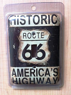 """COLLECTIBLE METAL SINGLE LIGHT SWITCH COVER/PLATE """"ROUTE 66 AMERICA'S HIGHWAY"""""""