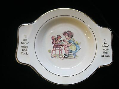 I GO HERE SAYS FORK SPOON INTERNATIONAL SILVER CO. SALEM CHINA CHILD'S DISH BOWL