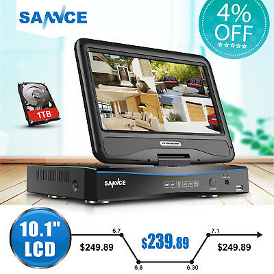 "SANNCE 10.1"" 8CH 1080N 4in1 DVR NVR Network CCTV Security Video 1TB Hard Drive"