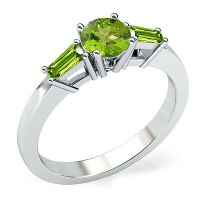 1 ct Round and Baguette Green Peridot Beautiful Fancy Ring 10K Solid White Gold