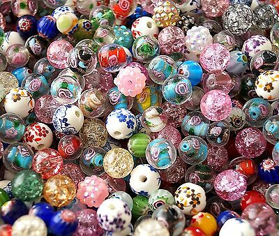 20-100 Mix Flower Round Jewellery Making Beads Lampwork Porcelain 8mm 10mm 12mm