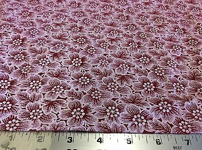 WHITE FLOWERS TOSSED ON RED FABRIC  1 2/3 YARDS